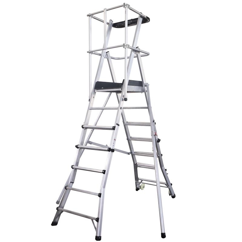 铝合金伸缩型可移动平台梯
